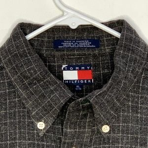 Tommy Hilfiger Mens Flannel Shirt Gray Checked XL